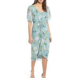 Leith Dresses - Leith | NWT floral ruched midi teal dress sz small